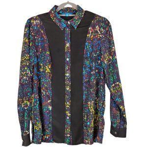Derek Lam Black Long Sleeve Button Up Top Size S